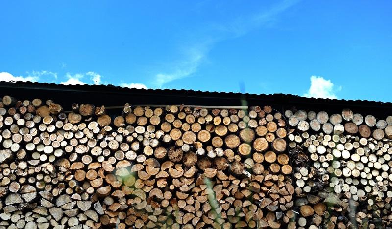 Bei der Lagerung von Brennholz im Freien geht die Trocknung wesentlich schneller als in einem abgeschlossenen Holzschuppen. (#03)