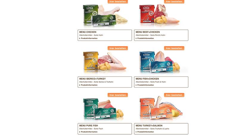PLATINUM Futter: Diese MENU Sorten gibt es zur Auswahl.